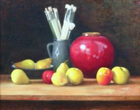 Still life with brushes, pot and fruit