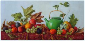 Green tea pot, leaves and fruit